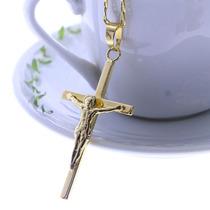 Pingente Cruz Crucifixo Grande Folheado Ouro 18k Belissimo