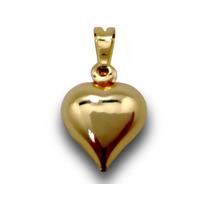 Pingente Lindo Coração Folhado Folheado Ouro 18k
