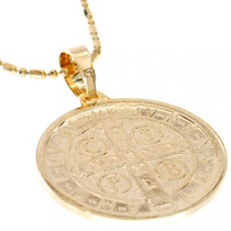 Pingente Medalha São Bento Clássica Grande Folheada Ouro 18k