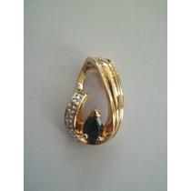 Pingente De Prata 925 Folheado A Ouro Com Safira E Diamante!