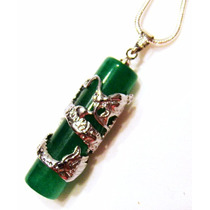 Pingente Amuleto Pino De Jade Verde Com Dragão Enrolado Ouro