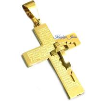 Crucifixo Grande Oração Detalhes Em Alto Relevo Banhado Ouro