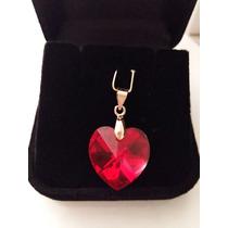 Pingente Coração Cristal Swarovski 1,8cm Siam Ab Folh. Ouro