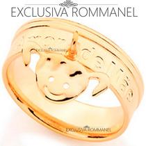 Rommanel Anel Amor De Mae Pingente Menina Folhea Ouro 511809