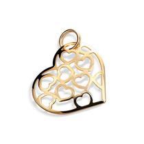 Pingente Coração Corações Vazados Dentro Ouro Rommanel