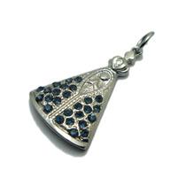 Pingente Nossa Senhora Aparecida Cromado Cor Prata Azul