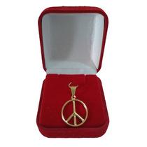 Colar Pingente Dourado Cruz De Nero Símbolo Da Paz 20mm