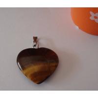 Pingente Coração De Pedra Olho De Tigre , Pedra Natural