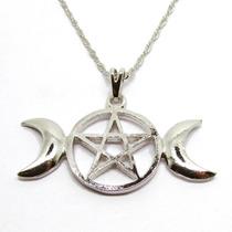 Colar Pingente Triluna Pentagrama Wicca Banho Ródio