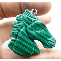 Pingente Cavalo 11,2gr Esculpido Em Malaquita Natural J1689
