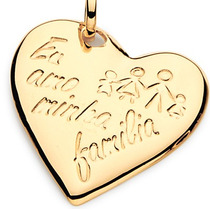 Pingente Rommanel De Coração Liso Com Desenho Família 541803