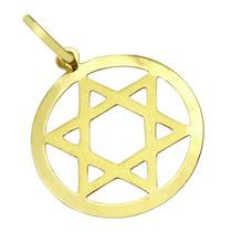 Pingente Estrela De Davi Vazado Ouro18k - Leloeane