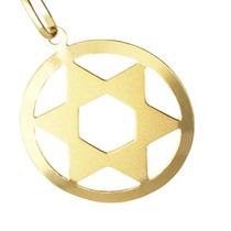 Pingente Estrela De Davi Com Aro Ouro18k - Leloeane