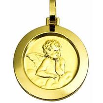 Pingente Medalha Anjo Da Guarda Redondo Ouro 18k A,u