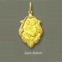 Medalha Santo Antonio Ornato 01 Ouro 18k 750 Liso E Fosco