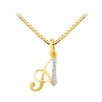 Pingente Letra Com Corrente Em Ouro 18 Quilate E Diamantes