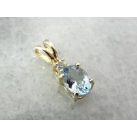 Pingente Em Ouro Amarelo Com Agua Marinha Oval E Diamantes!