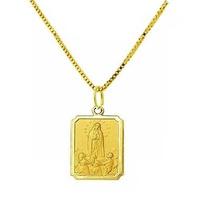 Pingente Nossa Senhora De Fatima Ouro 18k R1 Com Corrente