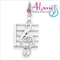 Pingente Musica Prata Envelhecida - Alanis Mania Musical