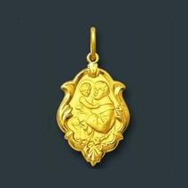 Pingente Medalha Santo Antonio Ornato Ouro 18k I,u