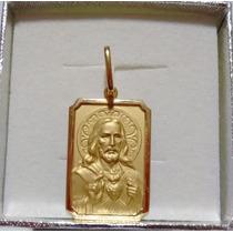 Pingente Medalha Coração De Jesus Ouro 18k 4,1gr - 2,5 Cm
