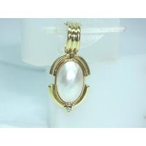 Pocao2005-pingente Ouro18k 750 Diamante E Perola Frete Grati