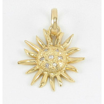 Esfinge Jóias - Pingente Sol Diamantes Ouro Amarelo 18k 750.