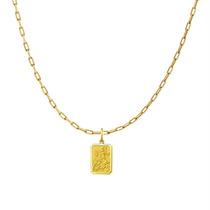 Pingente Medalha São Jorge Com Corrente Ouro 18k