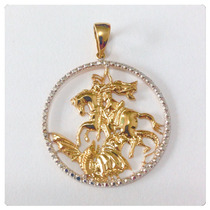 Pingente Medalha São Jorge Ouro Amarelo 18k Certificado