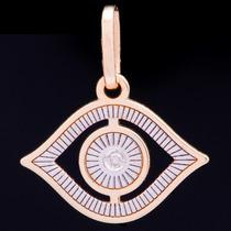 Pingente Olho De Horus C/ Brilhante Em Ouro 18k - 750 0,55gr