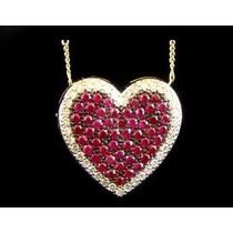 Pingente Coração Com Diamantes E Rubis Ouro 18k!