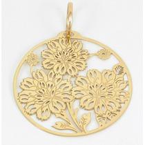 Esfinge Jóias - Pingente Mandala Flores Ouro Amarelo 18k 750
