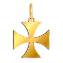 Pingente De Ouro 18k Cruz De Malta + Caixinha + Certificado