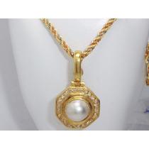 Boqueiraojoias Corrente Pingente 24 Diamante Perola Ouro 18k