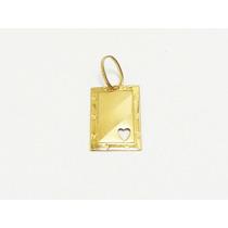 Monreale Lindo Pingente Placa Com Coração Em Ouro 18k