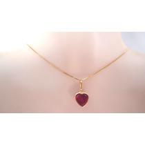 Leilão Imperdível Pingente Coração Rubi Joia Ouro 18k Cartão