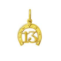Leão Jóias Pingente Ferradura Com 13 De Ouro 18k 1,5cm