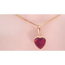 Corrente E Pingente Coração Pedra Vermelha Ouro 18k Garantia
