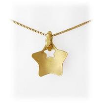 Pingente Estrela Com Corrente Em Ouro Amarelo 18 Quilates!
