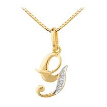 Pingente Letra G Em Ouro 18 Quilate E Diamantes