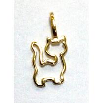 Gato Cat Pingente Em Ouro 18k Corrente Vendida A Parte