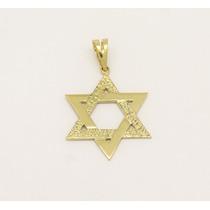 Pingente Estrela De Davi Trabalhada Ouro Amarelo 18k 750