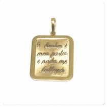 Pingente Medalha Com Salmo 23 Masculino Ouro 18k Certificado