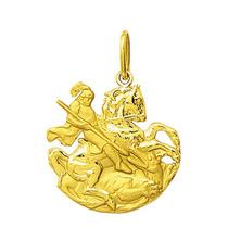 Pingente Medalha São Jorge Em Ouro 18k 2 Cm Com Certificado