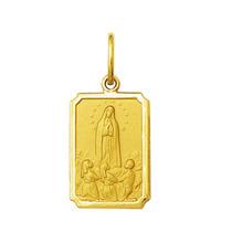 Pingente Medalha Nossa Senhora De Fátima Ouro 18k Pequeno