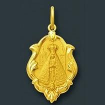 Pingente Medalha Nossa Senhora Aparecida Ornato De Ouro