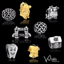 Berloque B. Ouro18k/prata P/pulseira Pandora Charm Ou Vivara