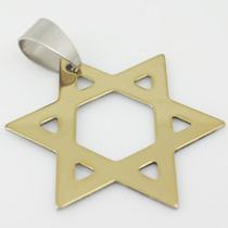 Pingente Medalha Estrela Davi Hexagrama Aço Inox Cirúrgico!!