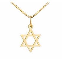 Viagold Pingente Estrela De Davi Em Ouro 18k + Corrente 45cm