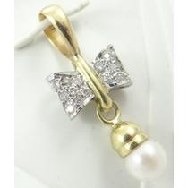 Paris Jóias - Diamantes E Pérola Em Pingente De Ouro 18k